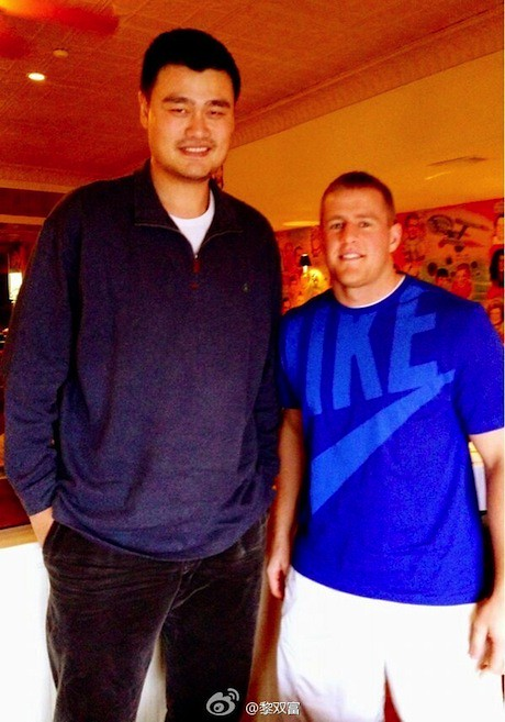 February 12th, 2013 - J.J. Watt's tweeted pic with Yao Ming