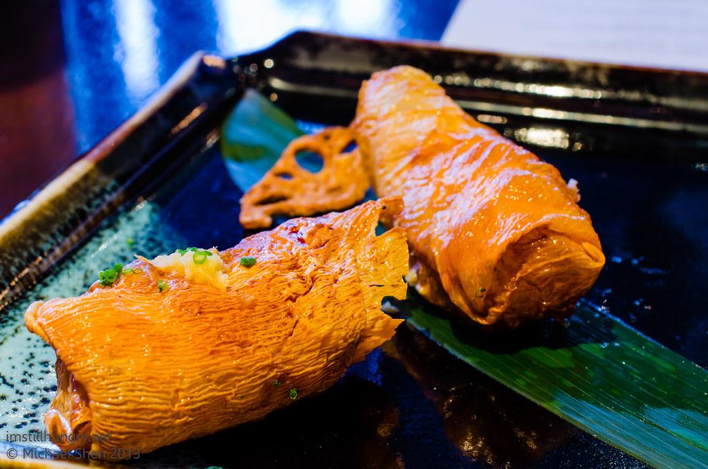 Ocean Room Ocean shinjo - house-made fish cake, tiger prawn & calamari bean curd parcel