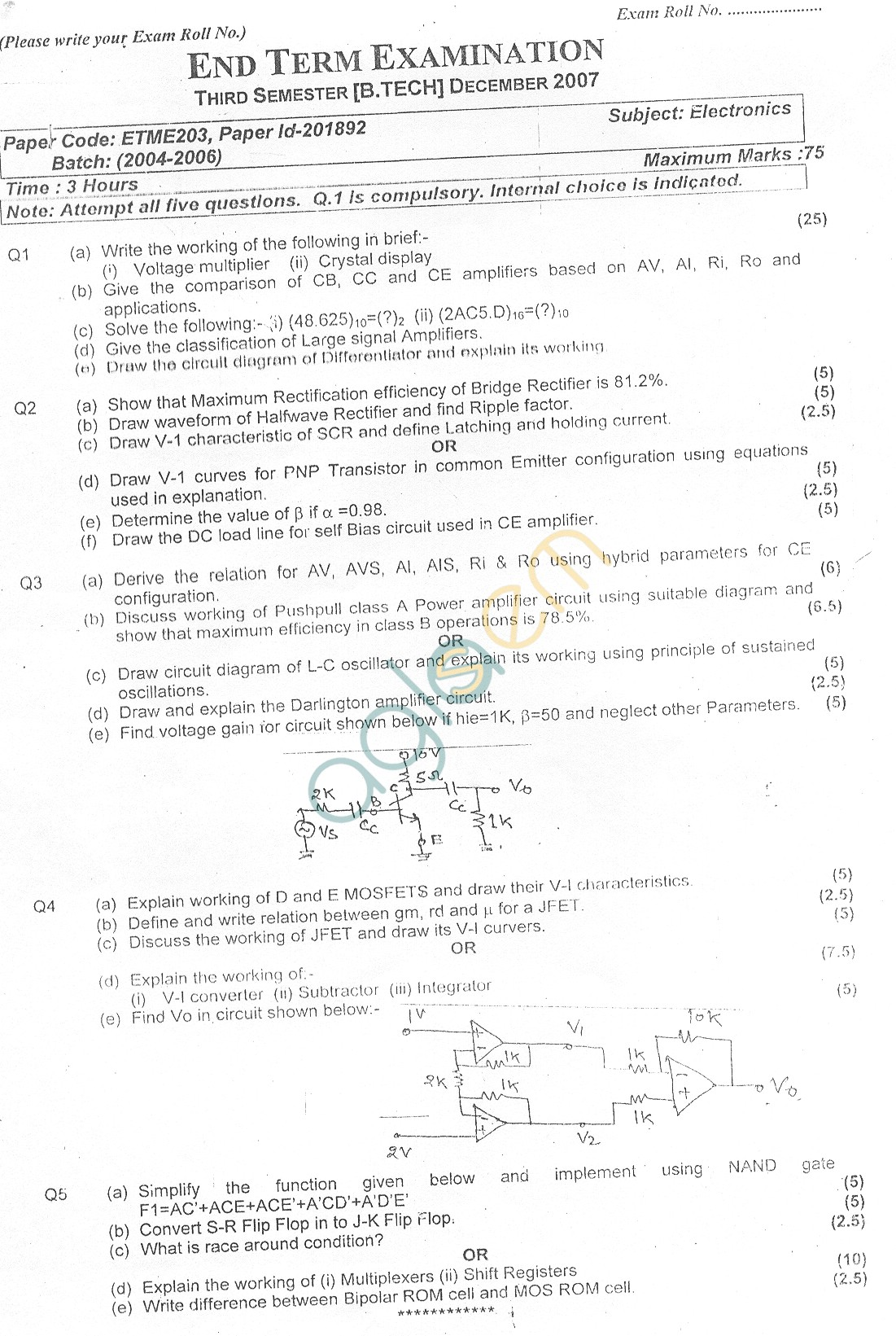 GGSIPU Question Papers Third Semester – End Term 2007 – ETME-203
