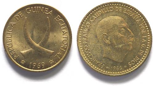 Pesetas de Guinea Ecuatorial y de España