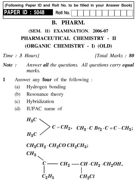 UPTU B.Pharm Question Papers PH-122(O) - Pharmaceutical Chemistry-II (Organic Chemistry-I) (Old)