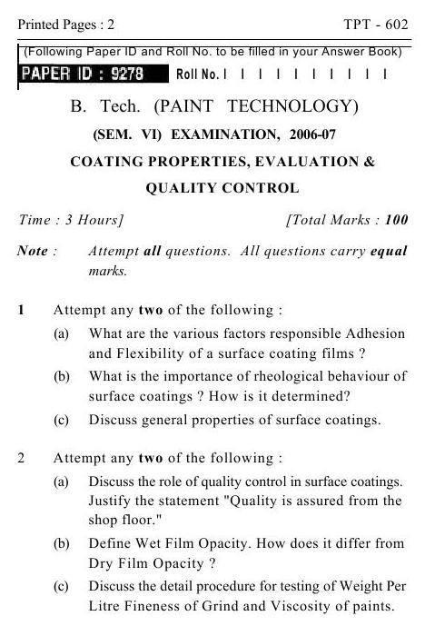 UPTU B.Tech Question Papers -TPT-602- Coating Properties, Evaluation & Quality Control