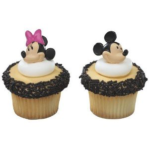 Mickey Mouse and Minnie Mouse Cupcake Rings Toppers
