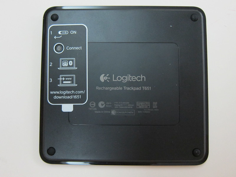 Logitech Rechargeable Trackpad for Mac (T651) - Back View