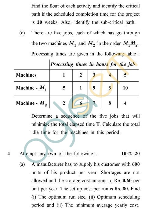 UPTU B.Tech Question Papers - TMA-013/MA-013 - Principle of Operations Research