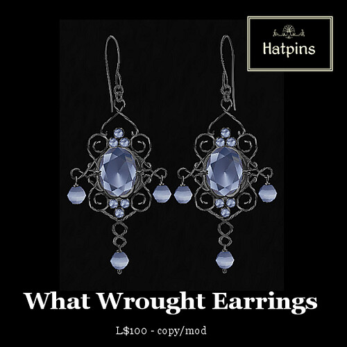 Hatpins - What Wrought Earrings - Moonstone (new!)