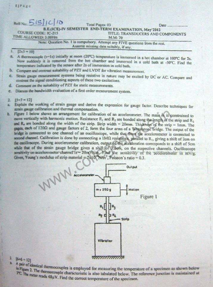 NSIT Question Papers 2012 – 4 Semester - End Sem - IC-215