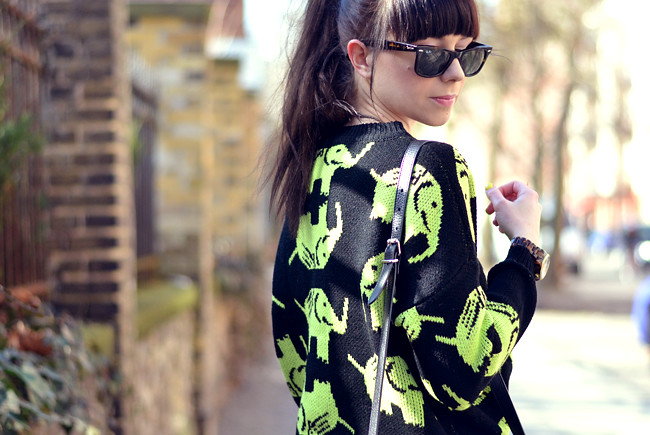 Elephant Neon Jumper Black Yellow Outfit CATS & DOGS 1