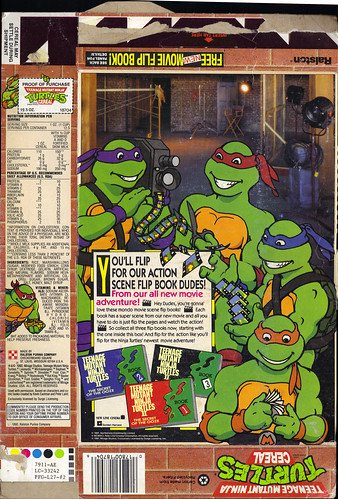 "Ralston ::""TEENAGE MUTANT NINJA TURTLES"" CEREAL - NEW PIZZA SHAPED MARSHAMLLOWS PLUS FREE MOVIE FLIP BOOK INSIDE! ii (( 1989 ))"
