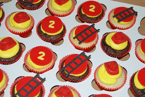 red and yellow fire truck 2nd birthday cupcakes