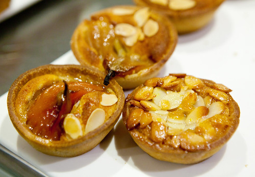 Mini pear tartlettes and almond marzipan tarts