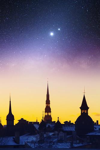 sunset sky silhouette stars towers latvia riga oldriga