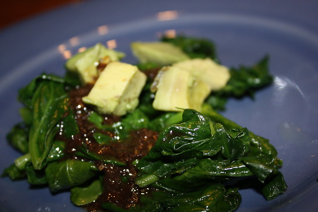 Wilted Spinach Salad with Avocado and Balsamic Vinaigrette