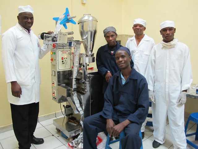 The operational team at Pharmanova with the ORS sachet machine