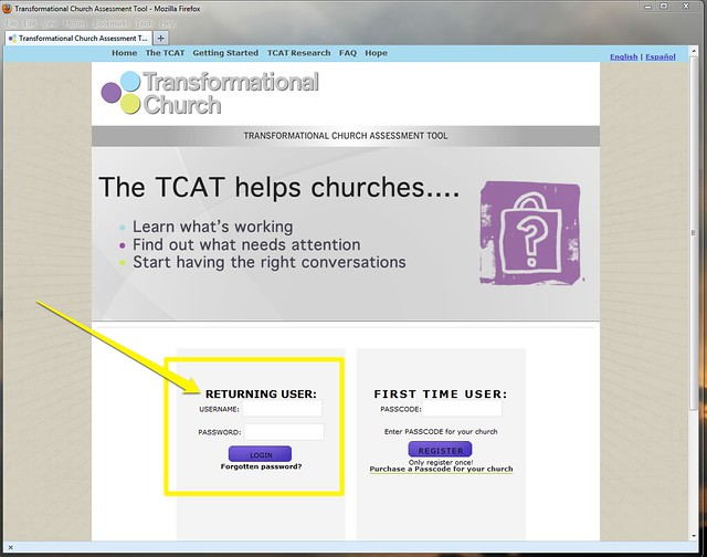 Log into Transformational Church Assessment tool