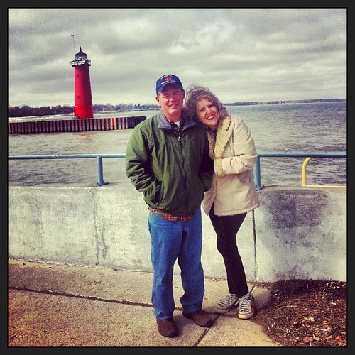 So happy (and freezing) together.   #lakemichigan #waukeganillinois #sohappytogether #songlyrics #freezing #winter #windy #marriedromance #ilovethisromance #lighthouse 3-16-13