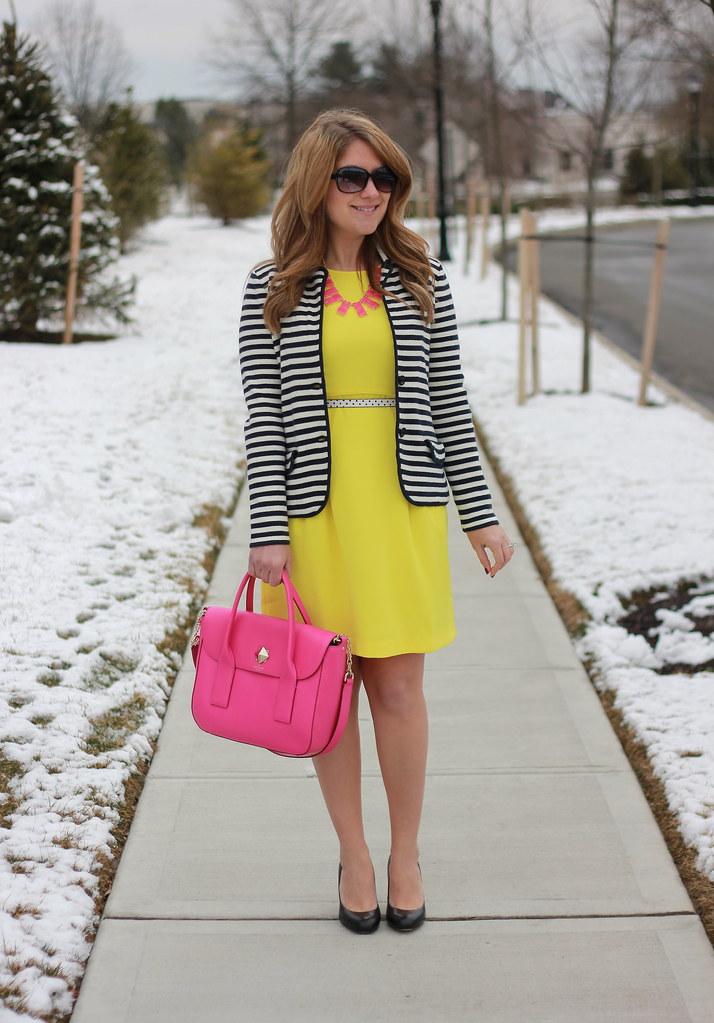 striped blazer yellow dress outfit idea