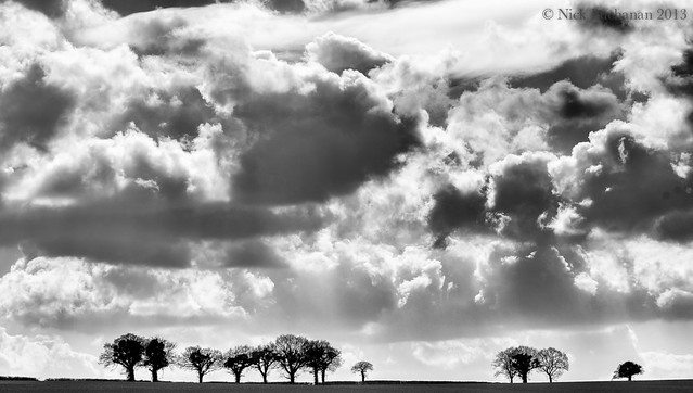 Clouds and trees along the A272
