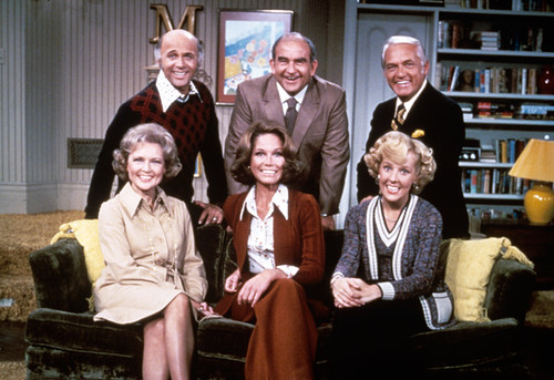 Mary Tyler Moore cast on a sofa