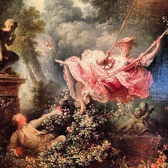 """-studied with with Boucher  -Boucher encouraged hime to enter the competition for the Prix de Rome  -painted """"The Swing"""" (view up lady's skirt on swing) -humorous"""