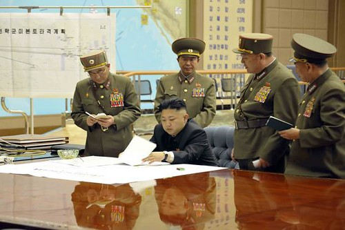 Kim Jong UN, leader of the DPRK, at the Korea Army Strategic Rocket Force Center. The U.S. has escalated tensions with the communist state. by Pan-African News Wire File Photos