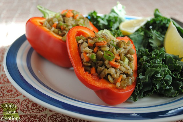 red peppers stuffed w hippie rice