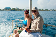 Barb and Joe going shipwreck snorkeling in Grand Cayman