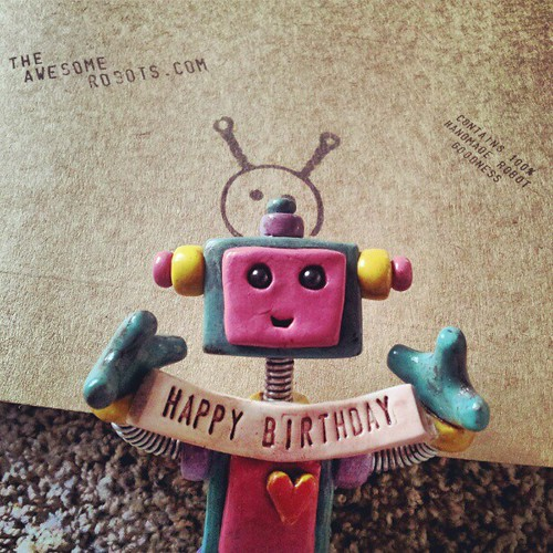 Teal Tam Robot wishes you a happy birthday. by HerArtSheLoves