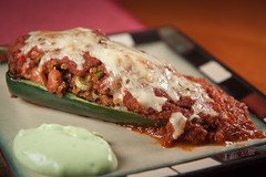 Quinoa Stuffed Poblano with Avacodo Cream Sauce