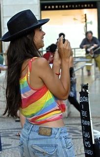 Colourful woman photographer