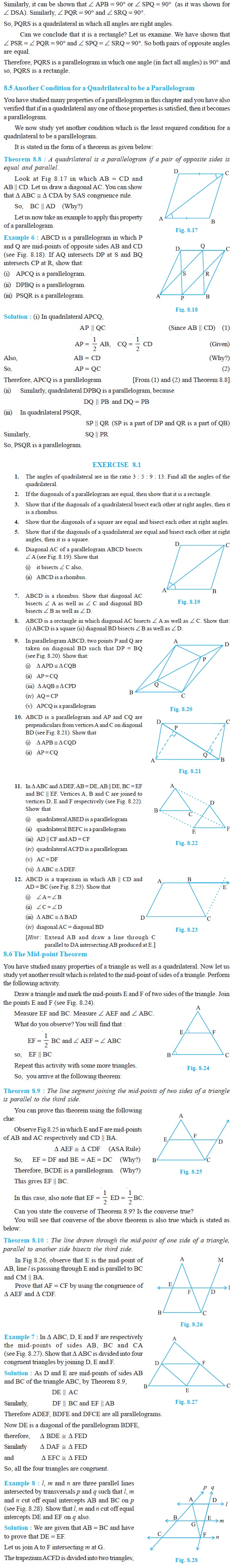 NCERT Class IX Maths Chapter 8 Quadrilaterals