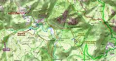 Carte IGN du secteur centre du Haut-Cavu avec les bergeries de Strascinella, Mela, Lora et Sainte-Lucie ainsi que le secteur de San Martinu avec les chemins et éléments du patrimoine des Plan Terrier et Cadastre Napoléonien
