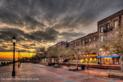 trees brick architecture clouds sunrise ga buildings shopping bench georgia coast colorful historic savannah lamps trashcan stores hdr highdynamicrange riverstreet lightson