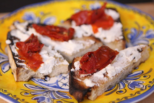 San Francisco Sourdough Crostini with Goat Cheese and Roasted Tomatoes