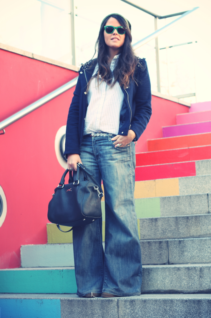 Look Wide Leg pants denim + blue jacket