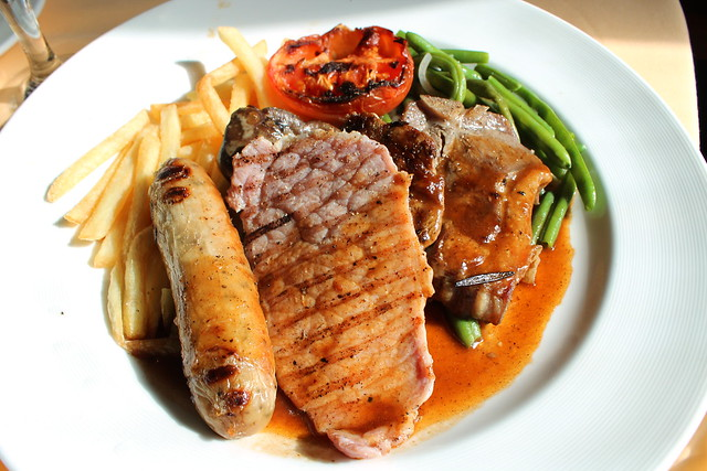 London Mixed Grill with beef medallion, veal kidney, lamb chop, English banger freen beans and shoestring potatoes