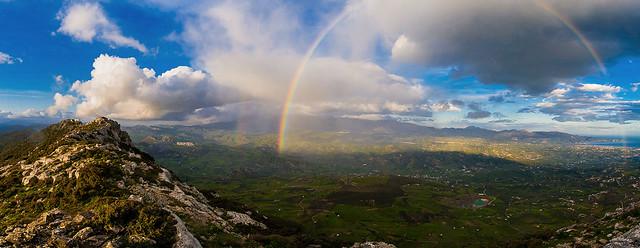 rainbow, sky, blue