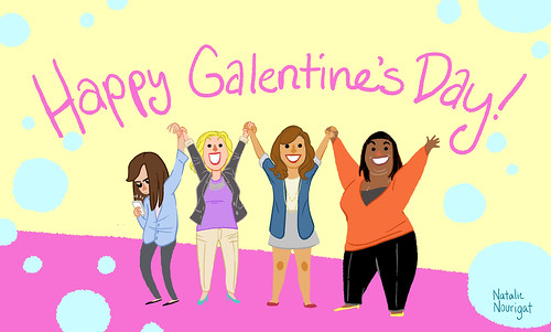"The cast of Parks and Rec says ""Happy Galentine's Day!"""