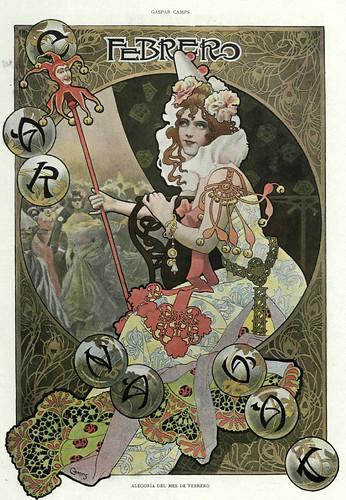 002-Alegoria del mes de Febrero- Gaspar Camps-Revista Álbum Salón-Enero de 1901 -Hemeroteca de la Biblioteca Nacional de España