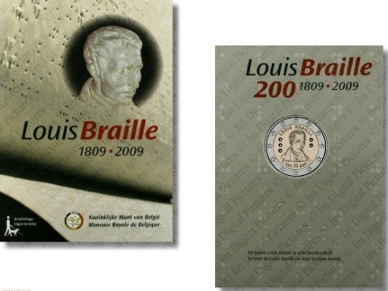 2 Euro Belgicko 2009, L.Braille - original folder