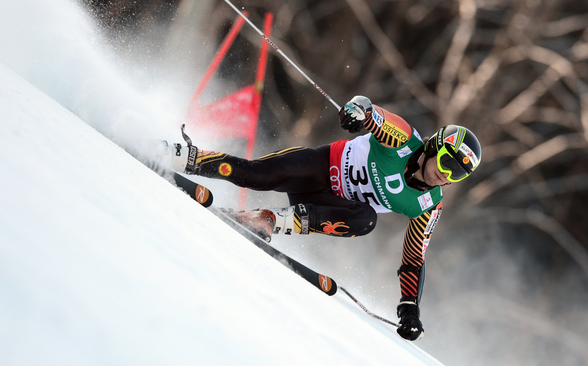 Canada's Phil Brown kicks up spray in the men's world championship giant slalom in Schladming, Austria. Brown placed 35th.