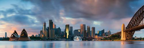 city longexposure bridge seascape water clouds sunrise nikon cityscape harbour pano sydney australia panoramic nsw coathanger cbd operahouse harbourbridge brucehood d800e