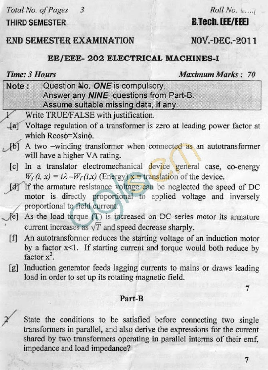 DTU Question Papers 2011 - 3 Semester - End Sem - EE-EEE-202