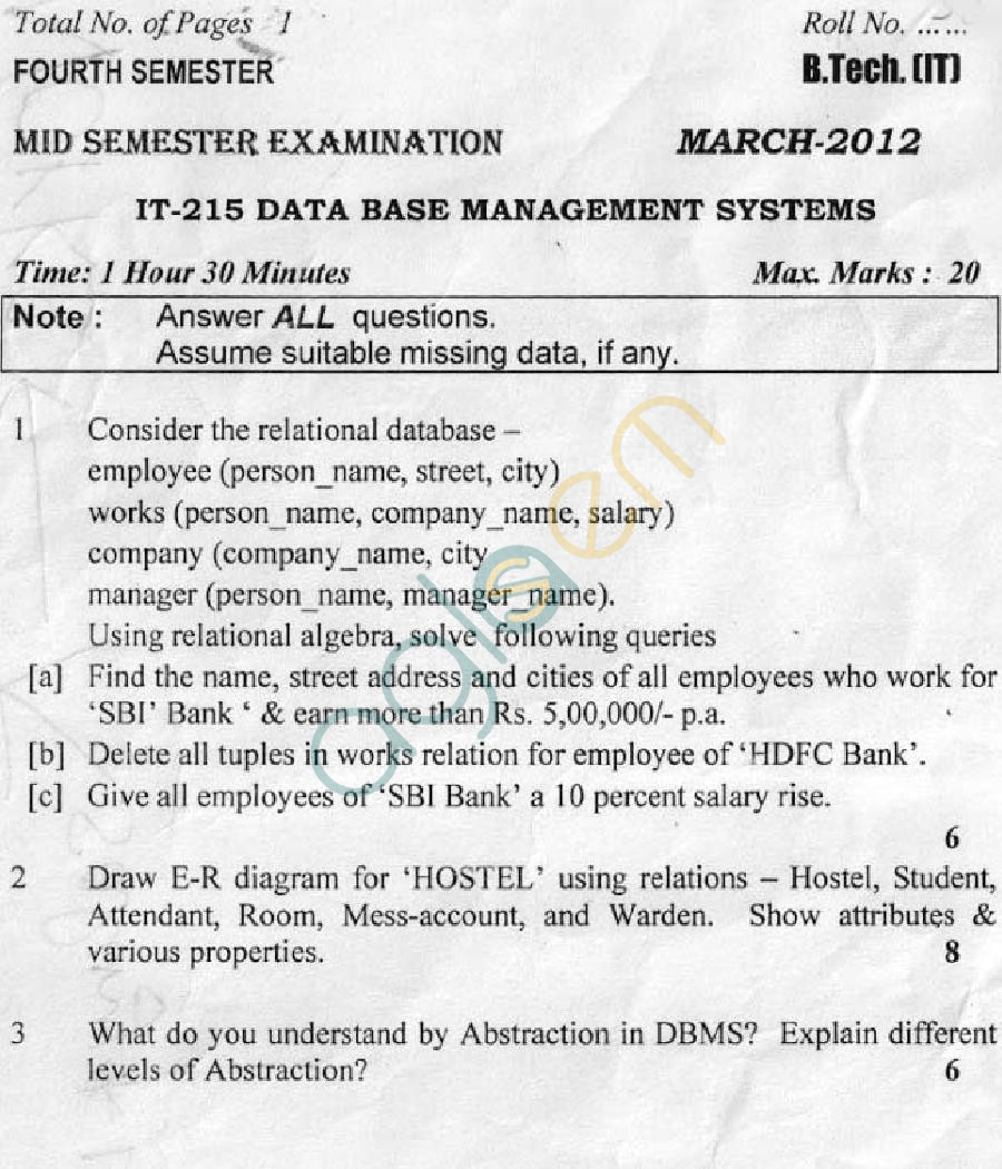 DTU: Question Papers 2012 - 4 Semester - Mid Sem -  IT-215