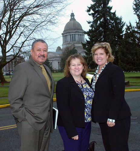 Washington State Director Mario Villanueva, Acting RBS Administrator Lillian Salerno, and Business Program Director Tuana Jones in Olympia, Wash., for a business lender roundtable.  Photo by Phil Eggman, USDA.