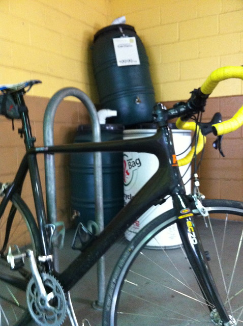 Bike and rain barrels