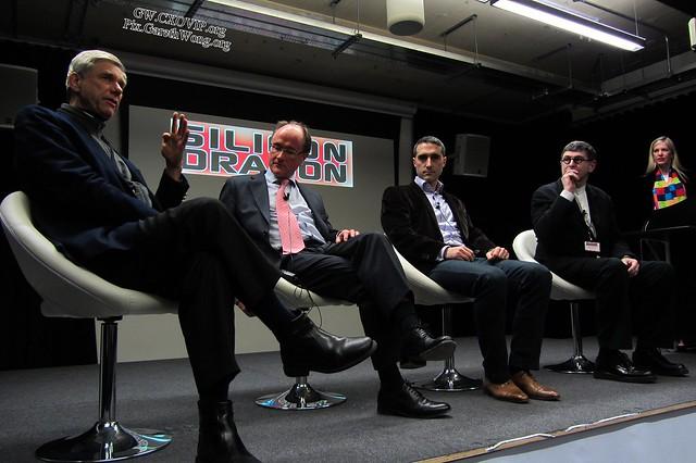#SiliconDragon London Investor Panel (left to right), Hermann Hauser, Co-founder Amadeus Capital, Adam Cooke, Partner, DLA Piper, Bruno bensaid, ShanghaiVest, AngelVest, & Rebecca Fannin, SiliconDragonVentures IMG_4345 @Brubrushanghai @rfannin