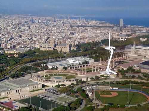 Montjuic desde el aire (Helicóptero en Barcelona)