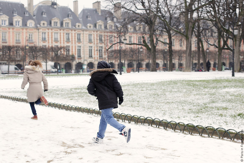 Snowy Place des Vosges by Carin Olsson (Paris in Four Months)
