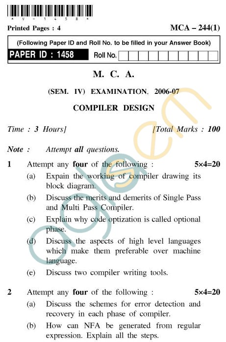UPTU MCA Question Papers - MCA-244(1) - Compiler Design